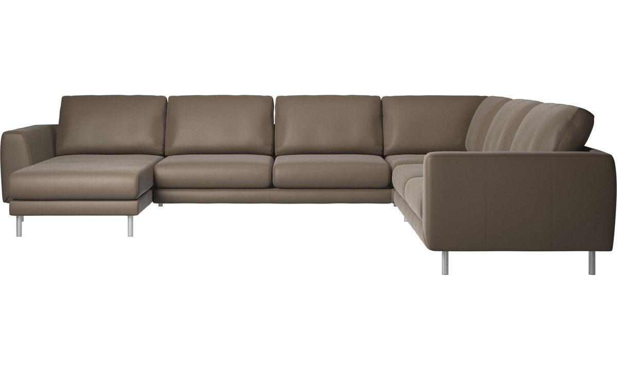 Canapés d'angle - Canapé d'angle Fargo avec méridienne - Gris - Cuir