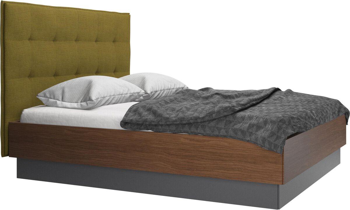 Senge - Lugano seng med opbevaring med vipperamme og lameller, ekskl. madras - Gul - Stof