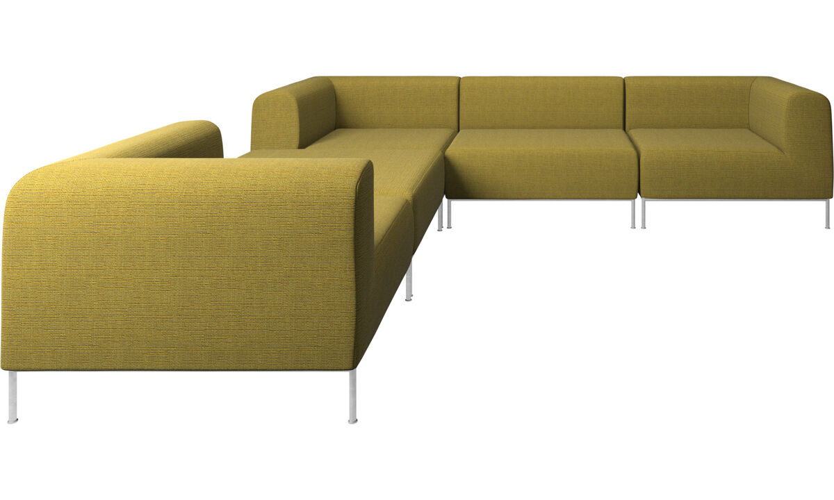 Modulære sofaer - Miami hjørnesofa med puf på venstre side - Gul - Stof