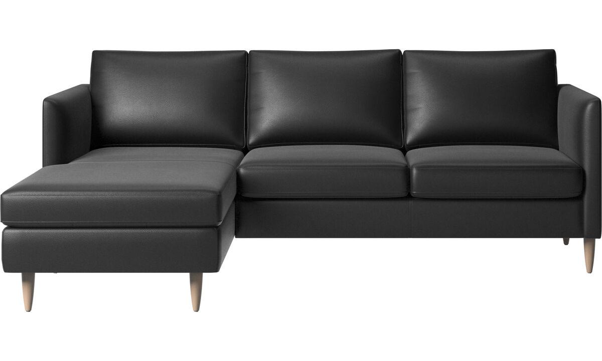 Sofas mit Récamiere - Indivi Sofa mit Ruhemodul - Schwarz - Leder