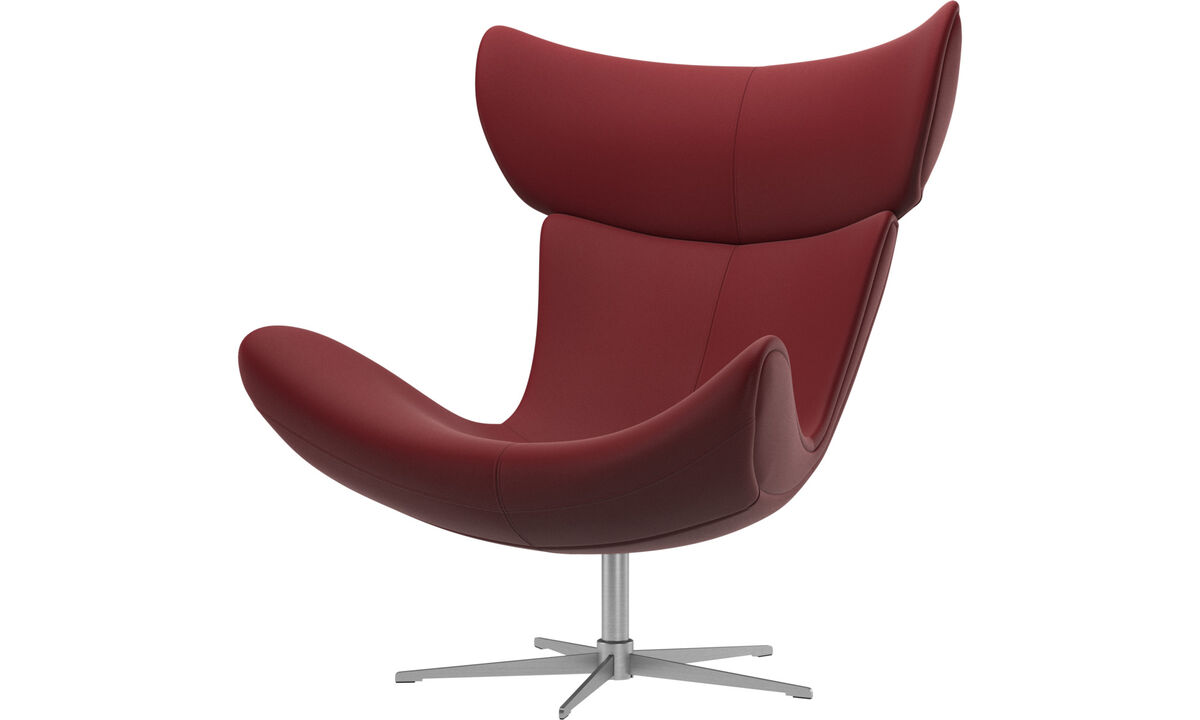 Armchairs - Imola chair with swivel function - Red - Leather