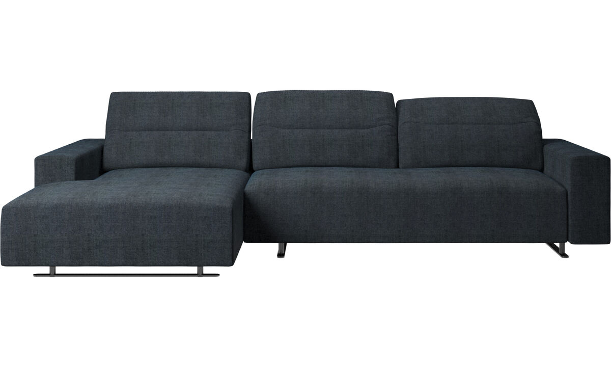 Chaise longue sofas - Hampton sofa with adjustable back and resting unit left side - Blue - Fabric