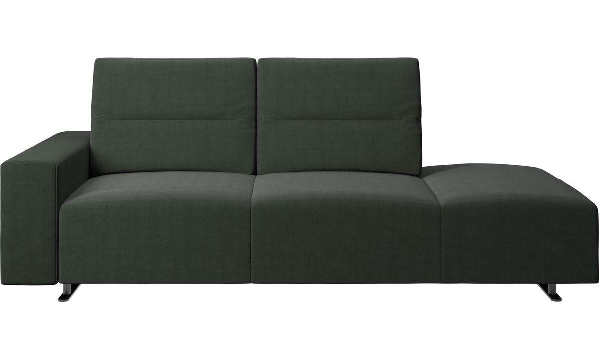 Canapés avec méridienne - canapé Hampton avec dossier ajustable et chaise longue, rangement et accoudoir côté gauche - Vert - Tissu