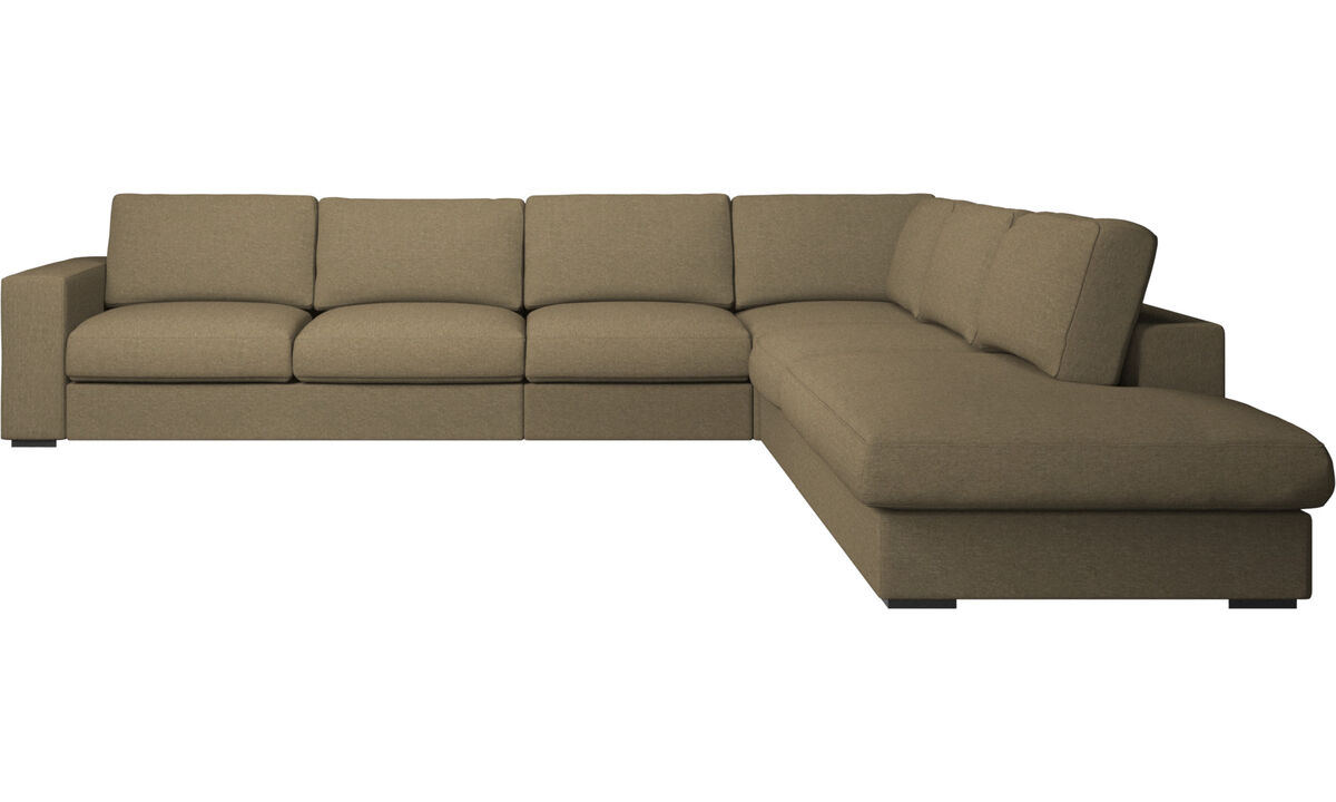 Corner sofas - Cenova corner sofa with lounging unit - Green - Fabric