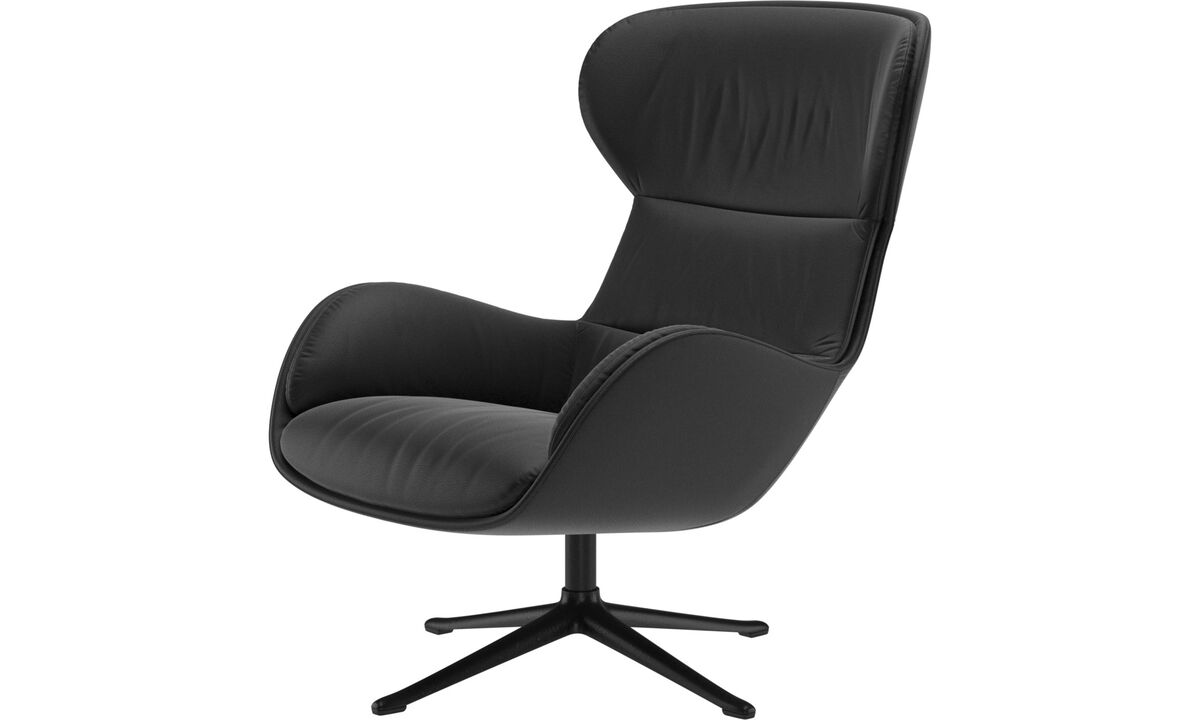 Recliners - Reno chair with swivel function - Black - Leather