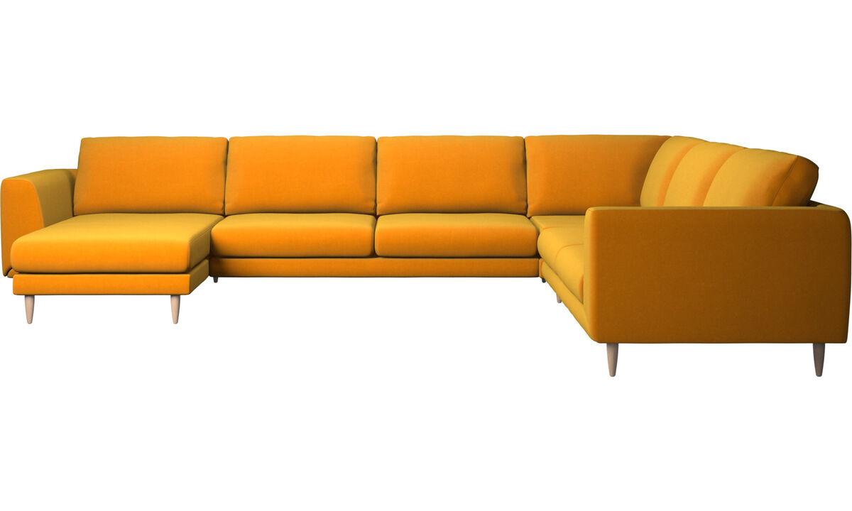 Chaise lounge sofas - Fargo corner sofa with resting unit - Orange - Fabric