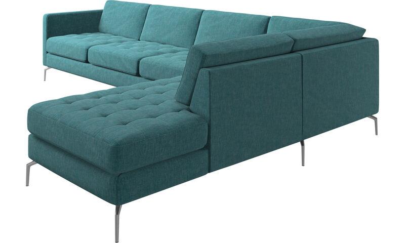 Osaka corner sofa with lounging unit, tufted seat