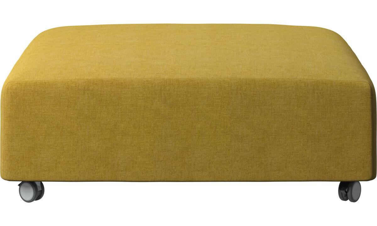 Footstools - Hampton footstool on wheels - Yellow - Fabric