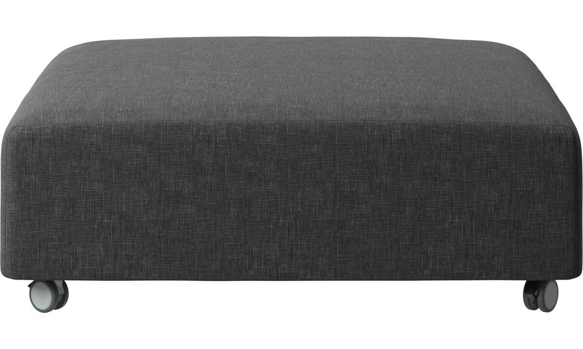 Ottomans - Hampton pouf on wheels - Gray - Fabric