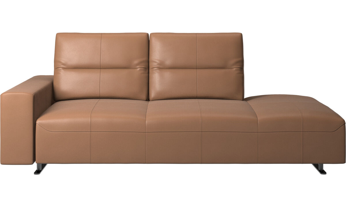 Sofas with open end - Hampton sofa with adjustable back and lounging unit right side, armrest left - Brown - Leather