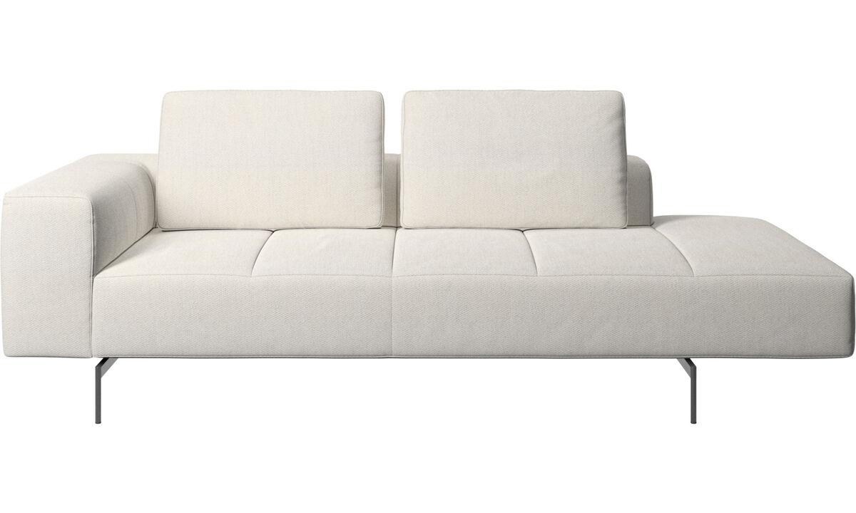 Modular sofas - Amsterdam resting module for sofa, armrest left, open end right - White - Fabric