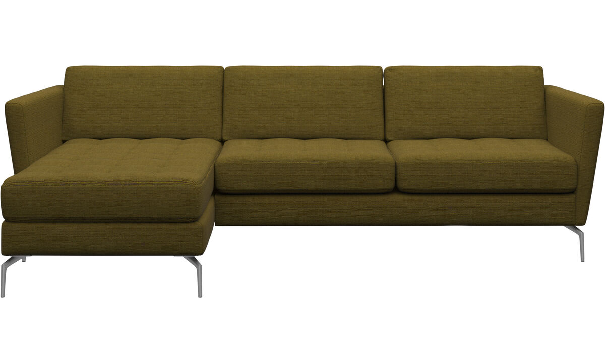 Chaise lounge sofas - Osaka sofa with resting unit, tufted seat - Yellow - Fabric