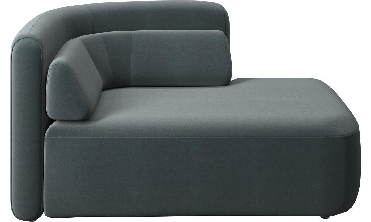 Modulárne sedačky - 1,5 sed Ottawa, otvorená pravá strana - Modrá - Látka