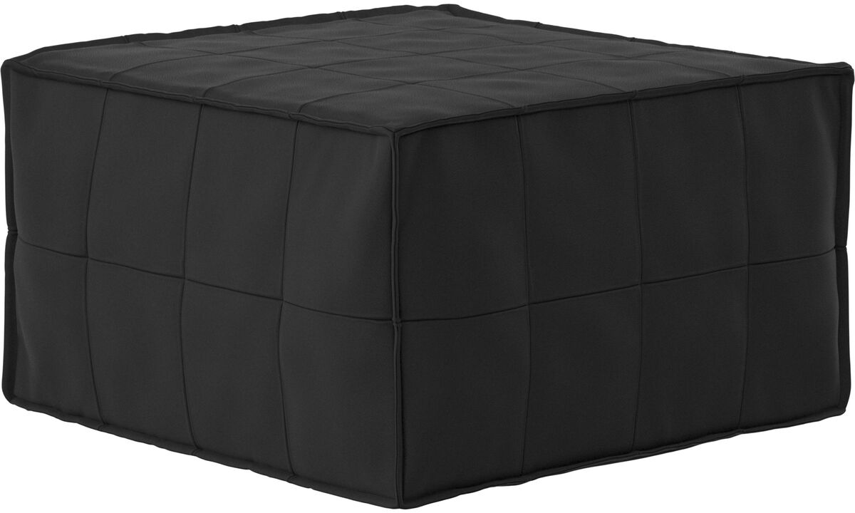Sofa beds - Xtra tufted footstool with sleeping function - Black - Leather
