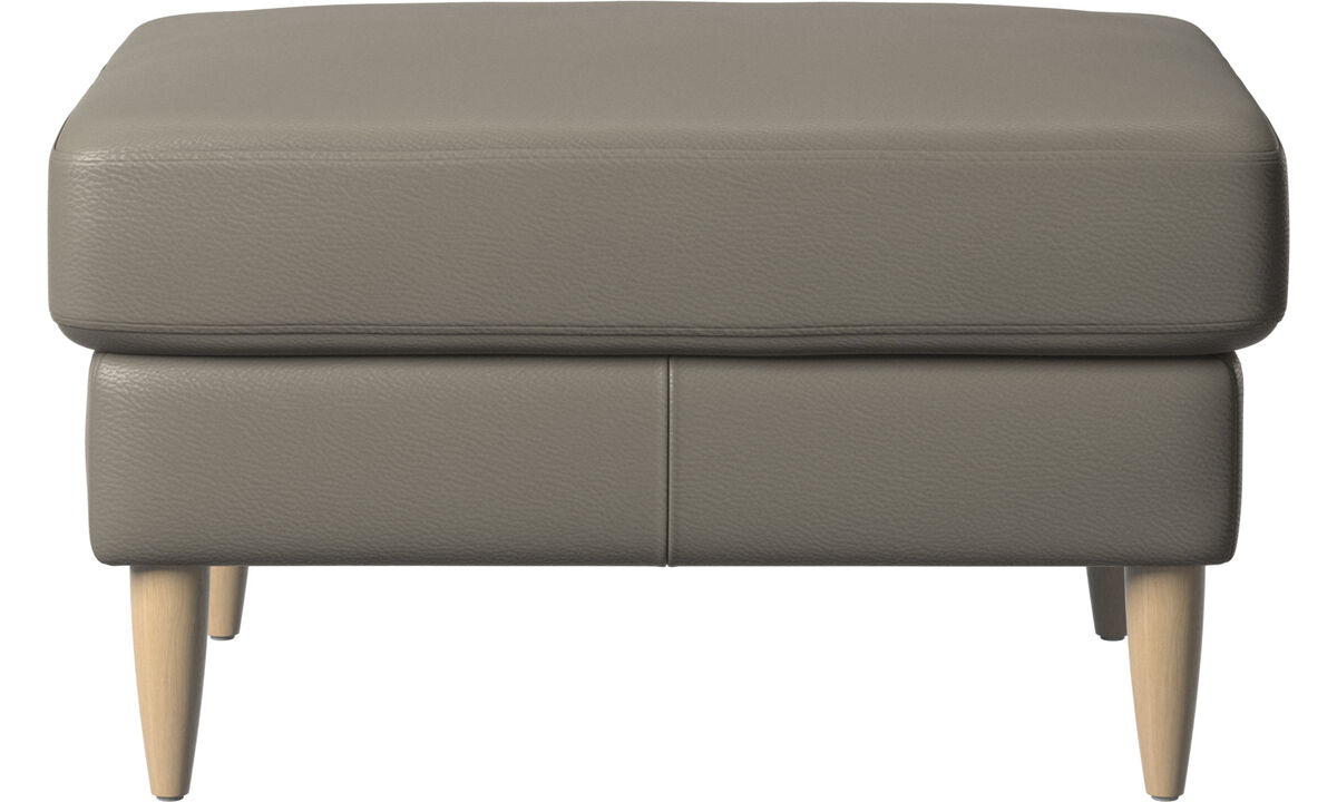 Footstools - Osaka footstool, regular seat - Grey - Leather