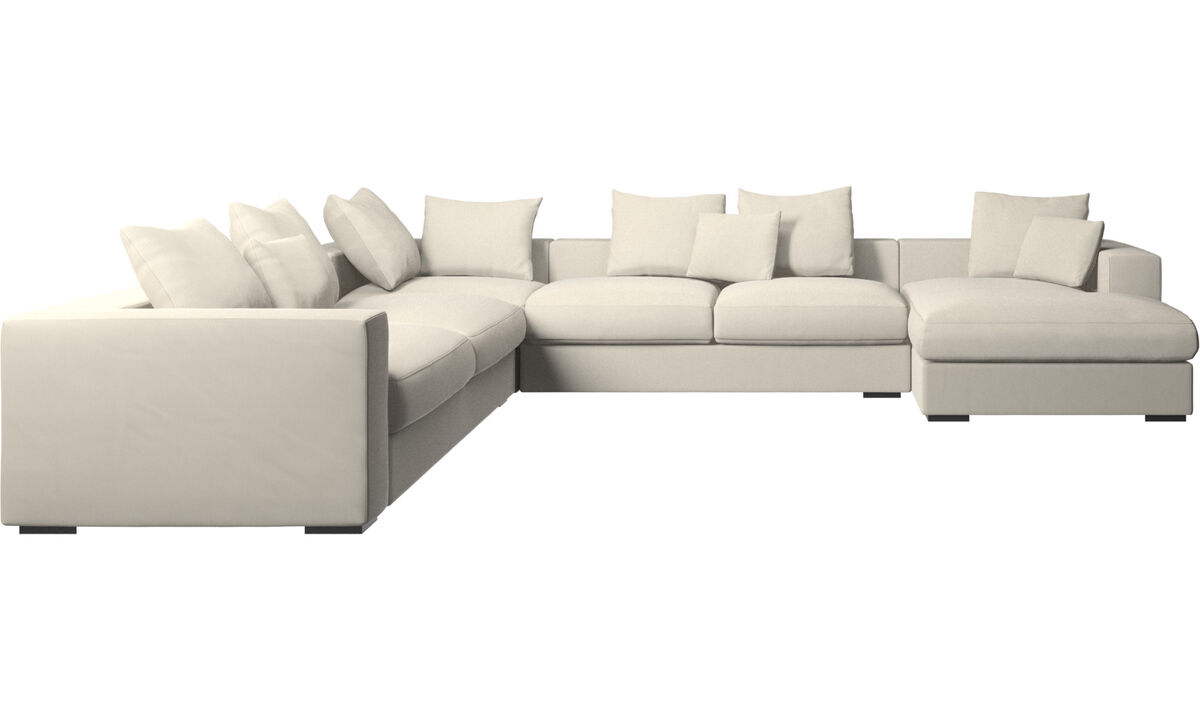 Corner sofas - Cenova corner sofa with resting unit - White - Fabric