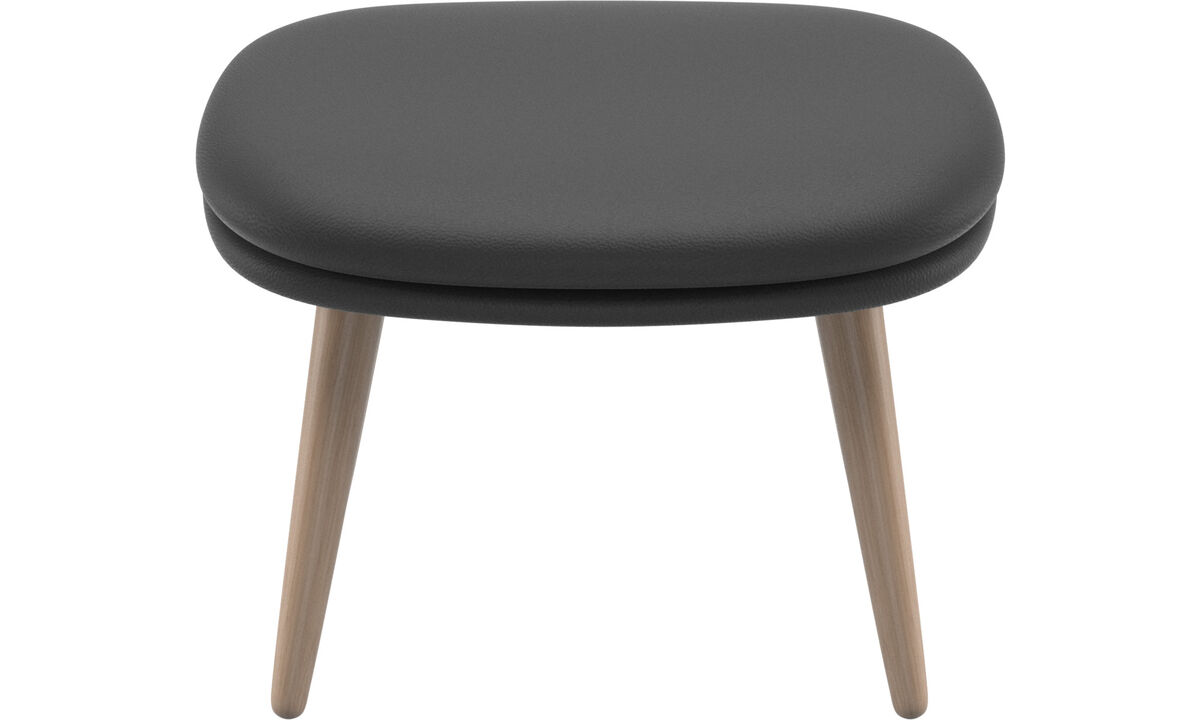 Footstools - Adelaide footstool - Black - Leather