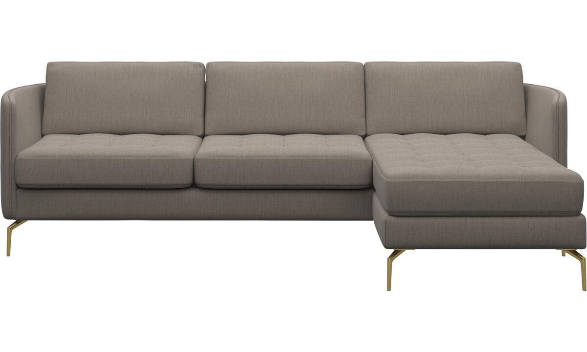 Chaise lounge sofas - Osaka sofa with resting unit, tufted seat - Beige - Fabric