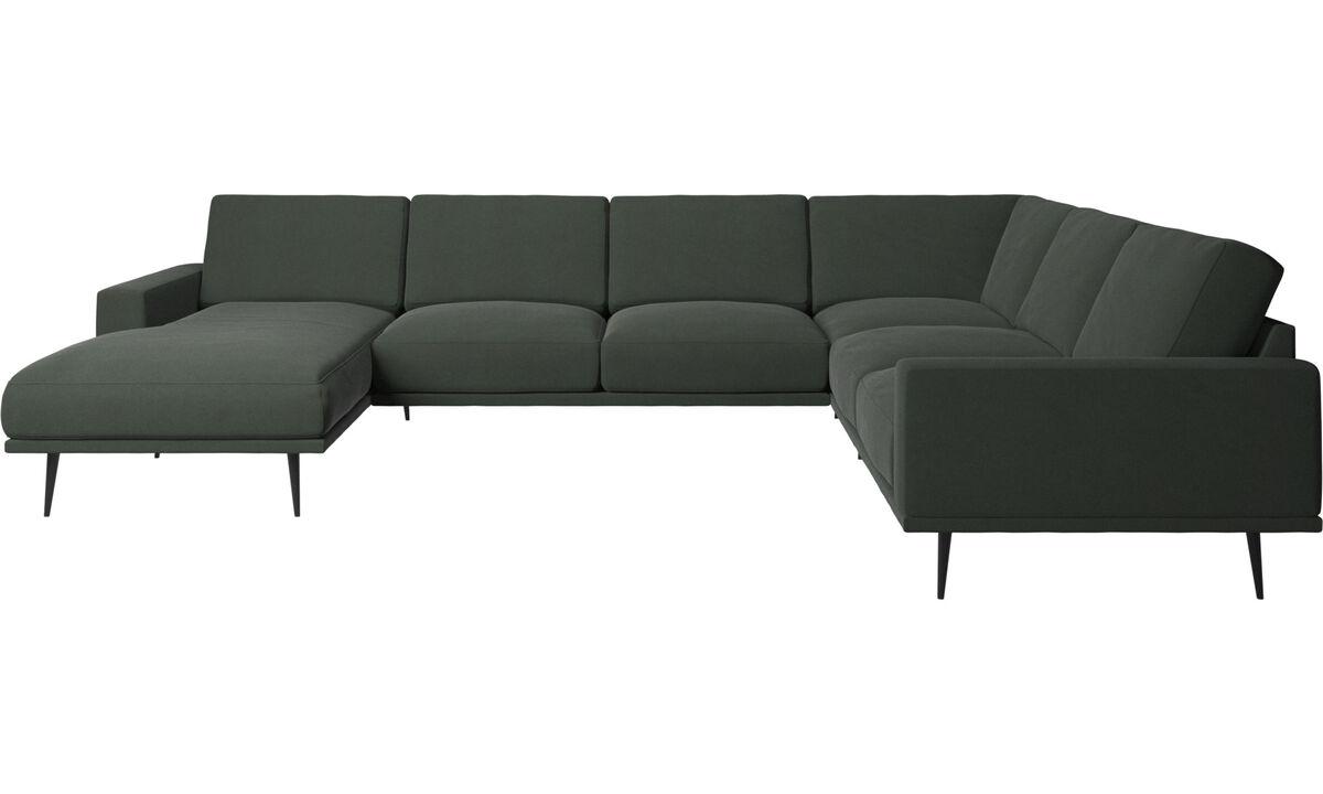 Sofás esquineros - sofá esquinero Carlton con módulo chaise-longue - En verde - Tela