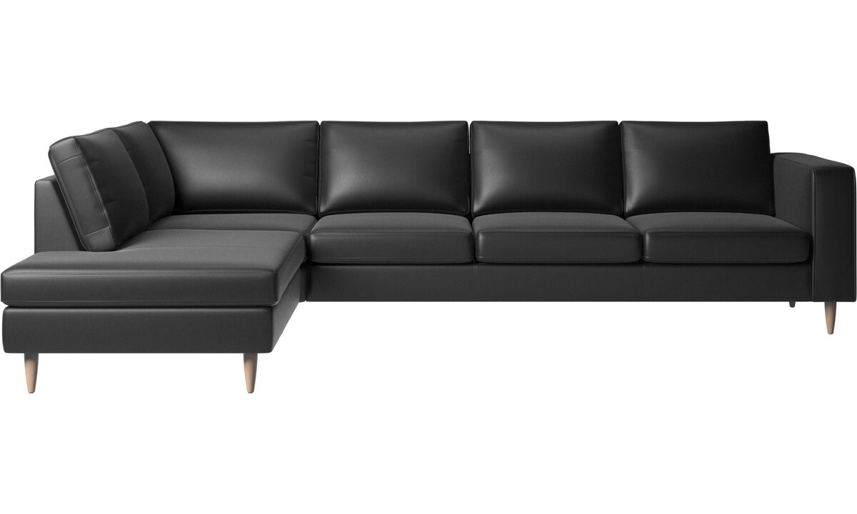 Corner sofas - Indivi 2 corner sofa with lounging unit - Black - Leather