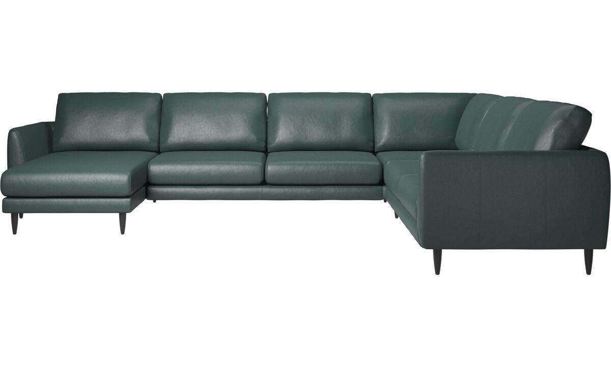Sofy narożne - sofa narożna Fargo z szezlongiem - Zielony - Tkanina