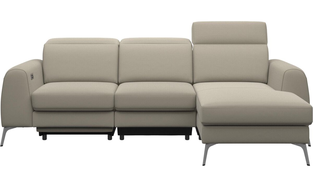 3 seater sofas - Madison sofa with resting unit, and electric seat, head and foot rest motion (rechargeable lithium battery included) - White - Fabric