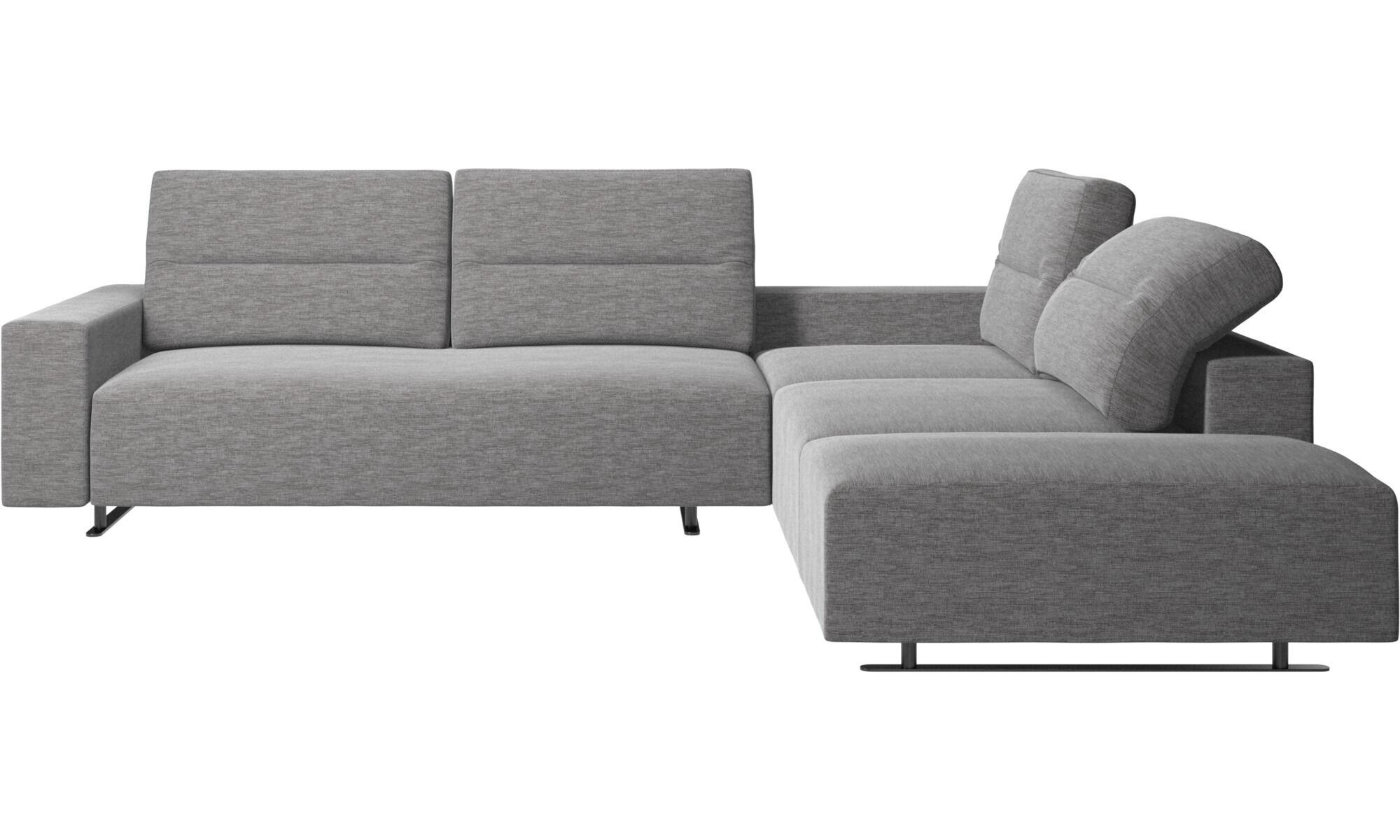 Corner Sofas   Hampton Corner Sofa With Adjustable Back And Storage On Left  Side   Gray