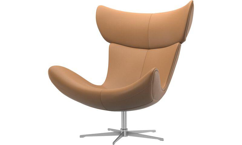 Fotele - fotel Imola z funkcją obrotu - Brązowy - Skóra