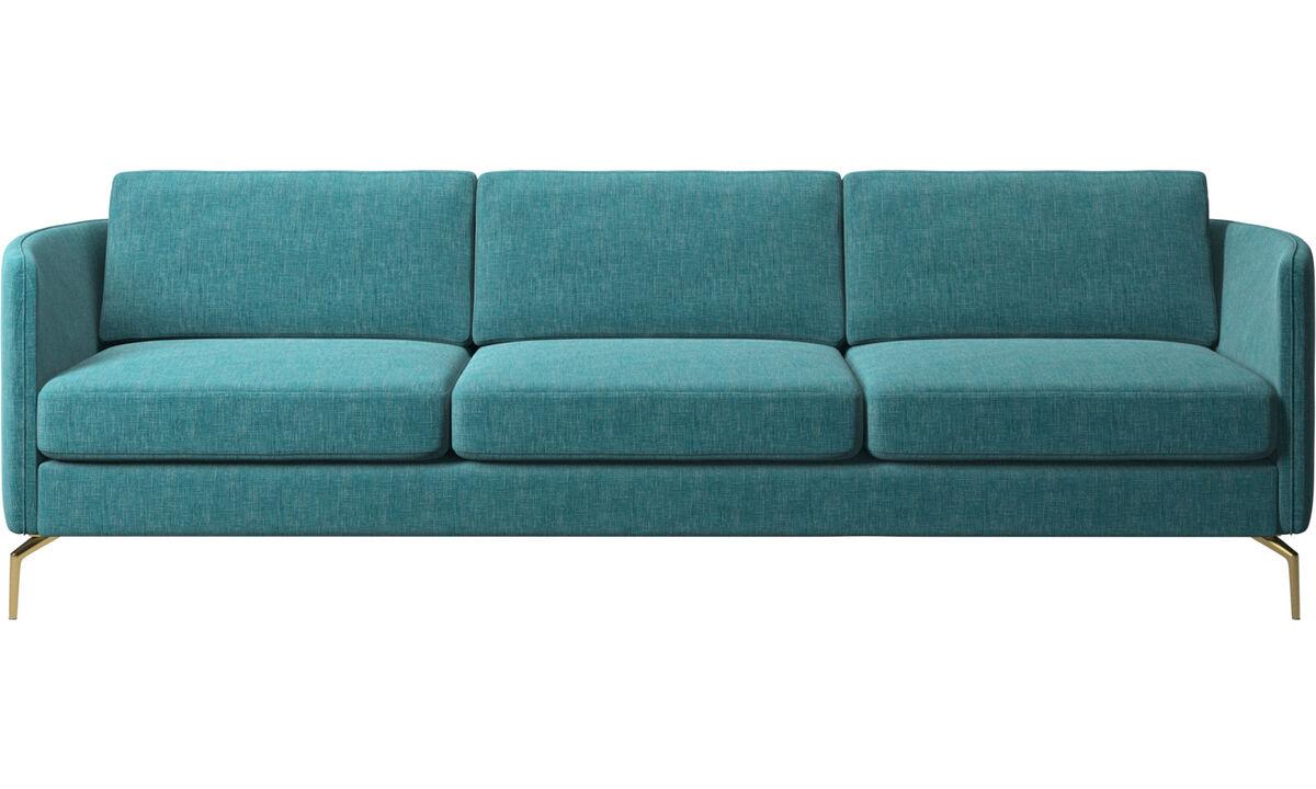 Sofás de 3 plazas - sofá Osaka, asiento regular - En azul - Tela