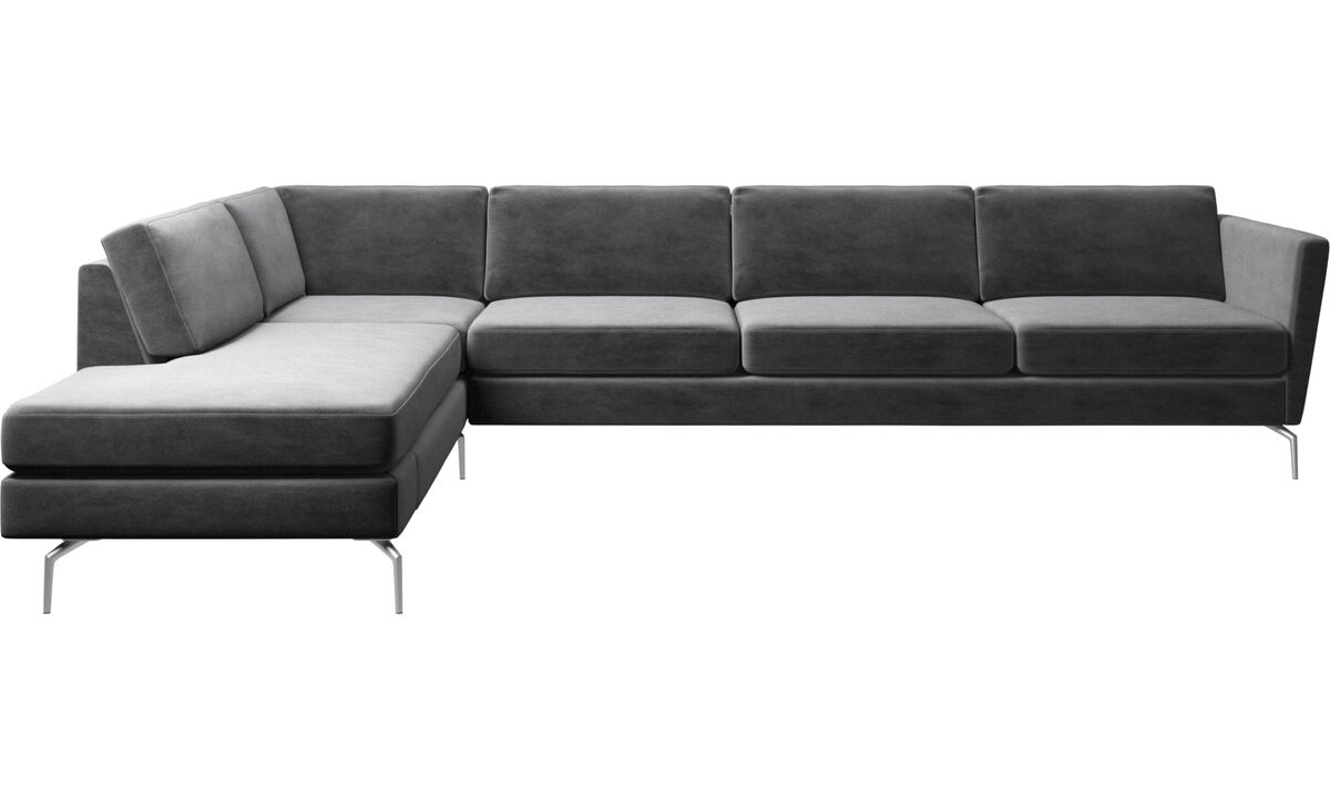 Sofas with open end - Osaka corner sofa with lounging unit, regular seat - Gray - Fabric