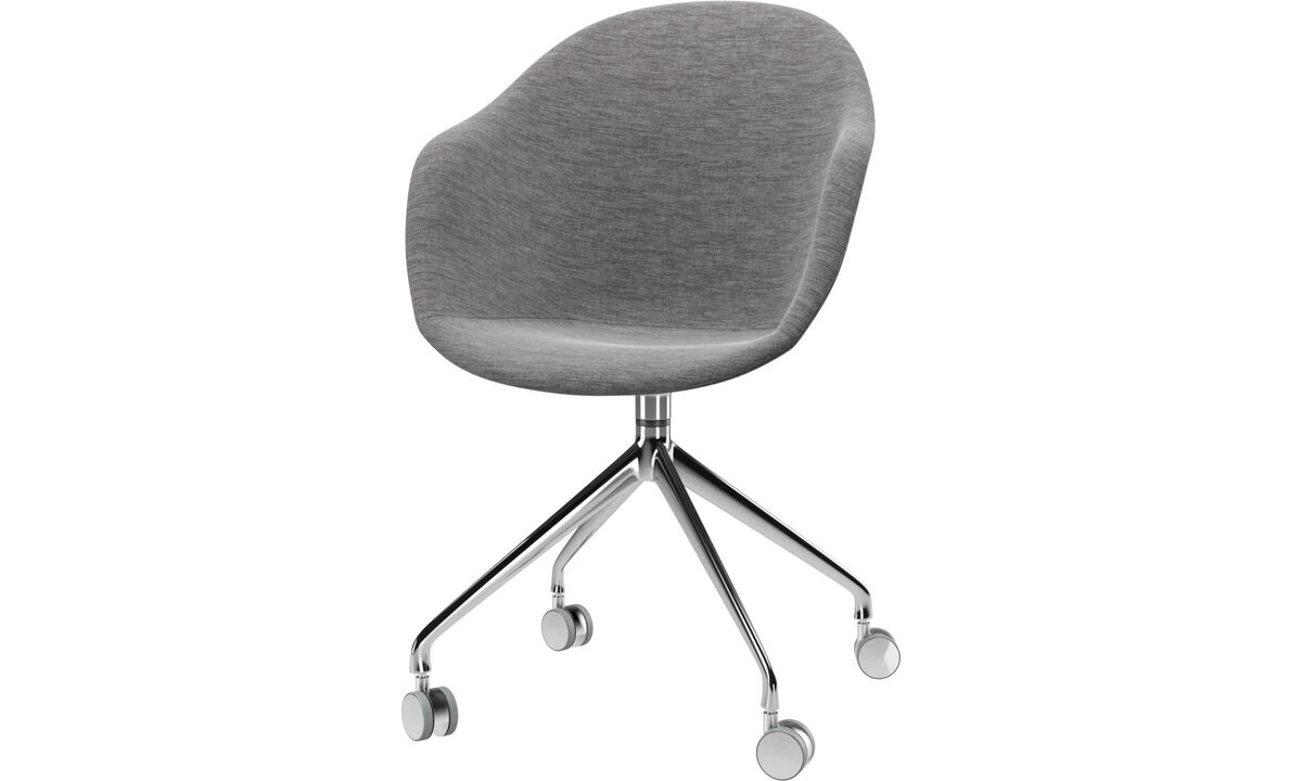 Dining chairs - Adelaide chair with swivel function and wheels - Grey - Fabric