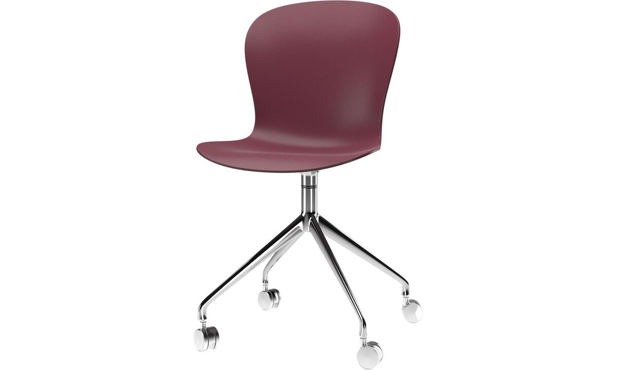 Dining chairs - Adelaide chair with swivel function and wheels - Red - Metal
