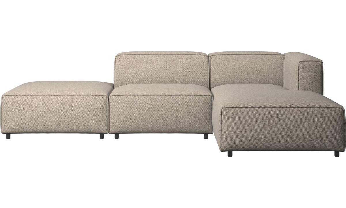 Sofás con lado abierto - sofá Carmo con módulo chaise-longue - En beige - Tela