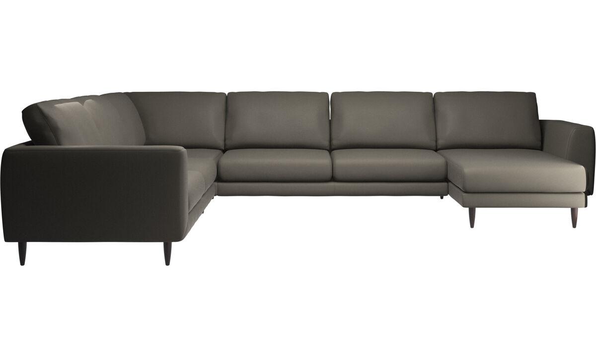 Chaise longue sofas - Fargo divano ad angolo con penisola relax - Grigio - Pelle