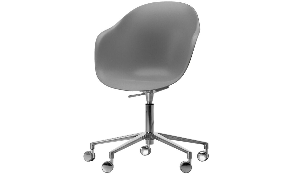 Office chairs - Adelaide chair with swivel function and wheels - Grey - Metal