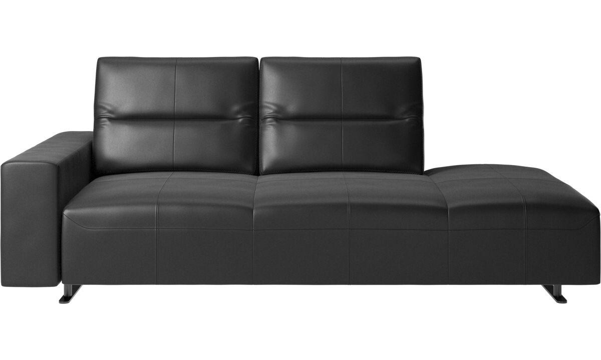 Sofas with open end - Hampton sofa with adjustable back and lounging unit right side, storage and armrest left side - Black - Leather