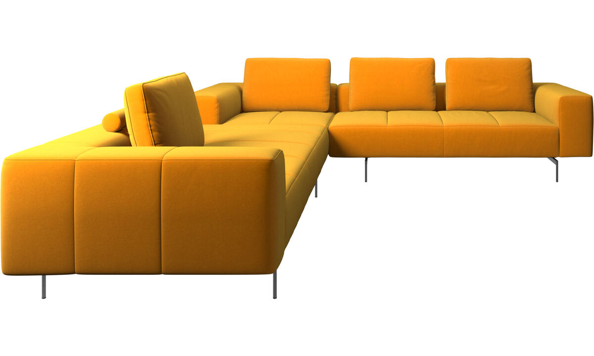 Corner sofas - Amsterdam corner sofa - Orange - Fabric