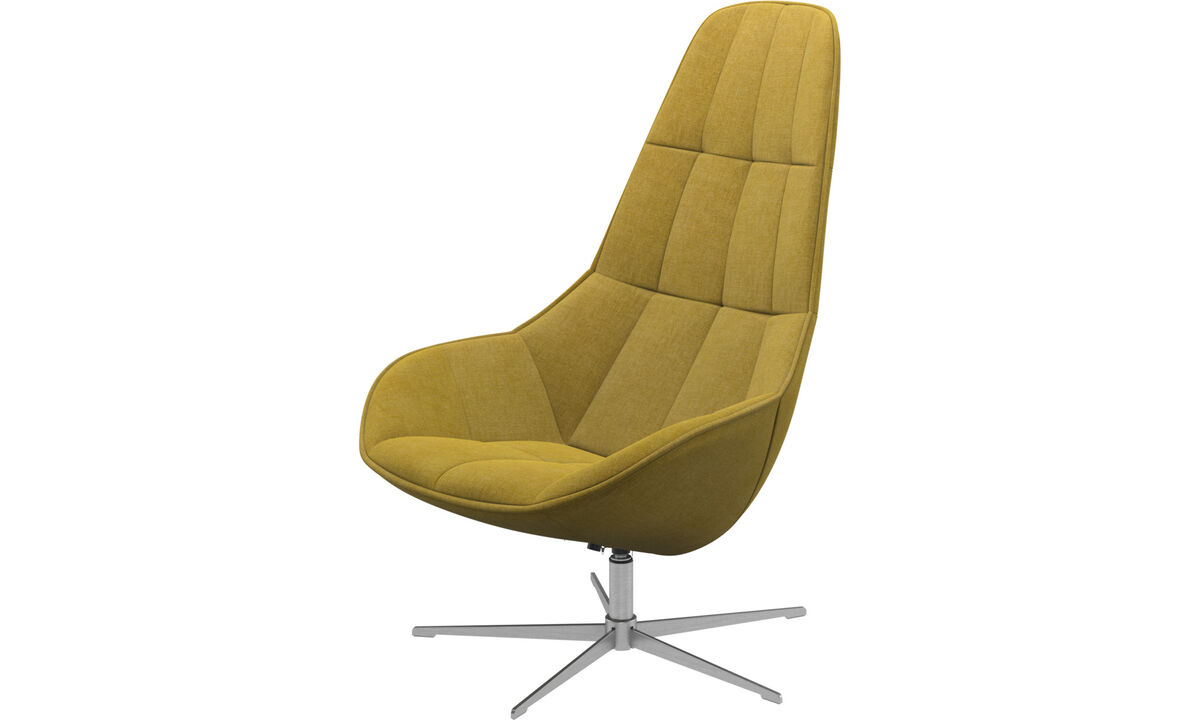 Armchairs - Boston chair with swivel function. Also available with tilt function - Yellow - Fabric