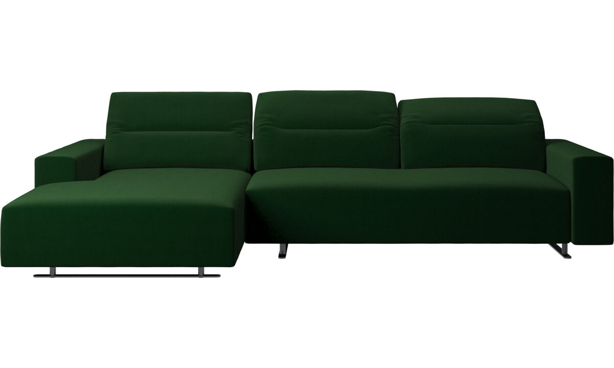 Chaise lounge sofas - Hampton sofa with adjustable back and resting unit left side, storage right side - Green - Fabric