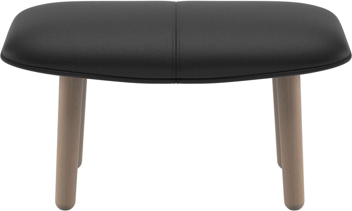 Footstools - fusion footstool - Black - Leather