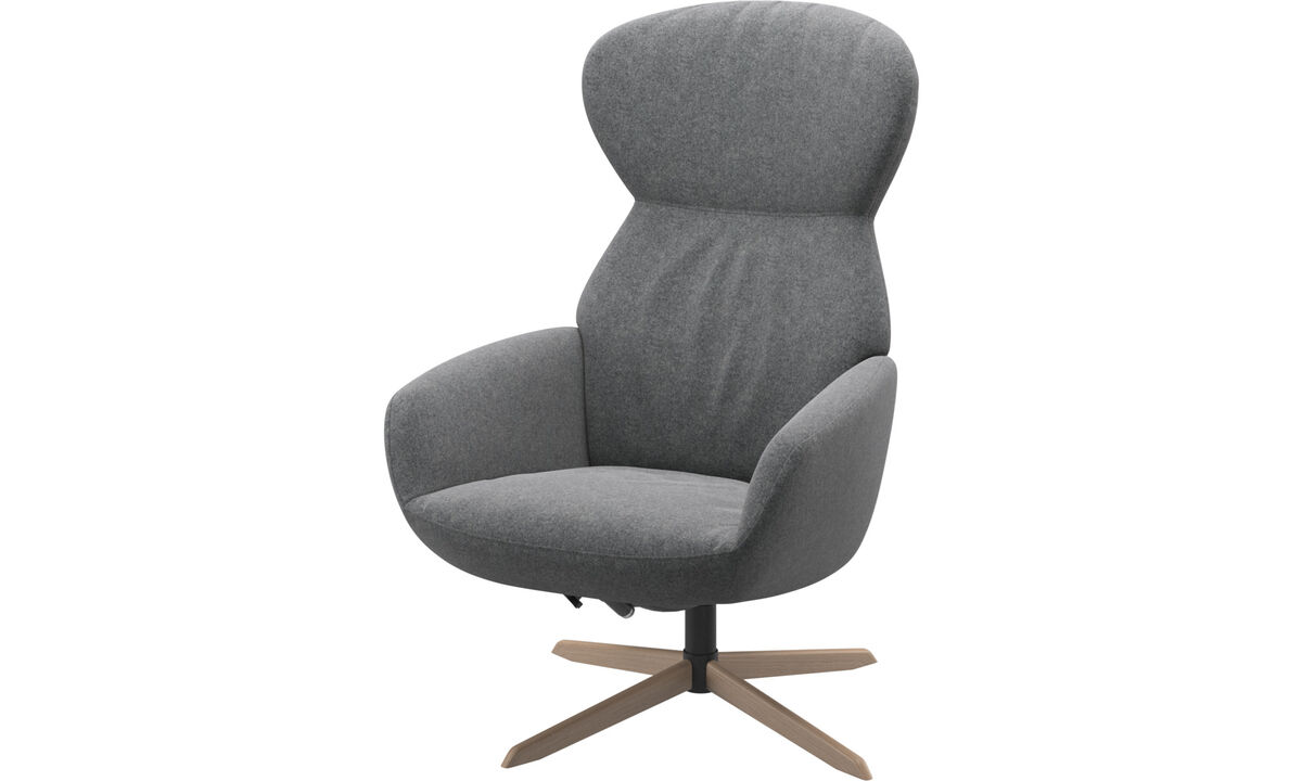 Armchairs - Athena chair with reclining back function and swivel base - Gray - Fabric