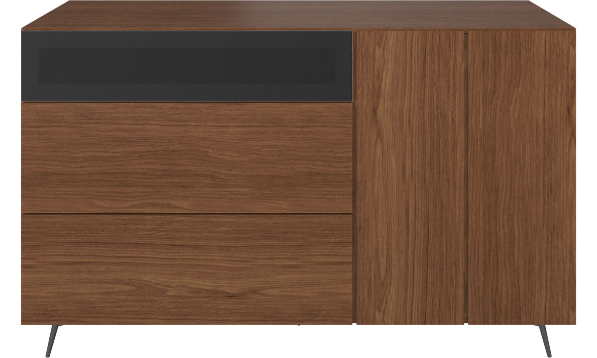Sideboards - Lugano highboard with drawers and drop down door - Brown - Walnut