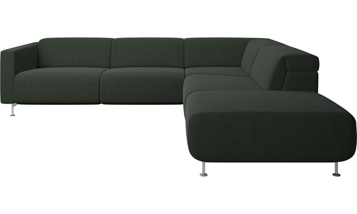 Recliner sofas - Parma reclining corner sofa with open end - Green - Fabric
