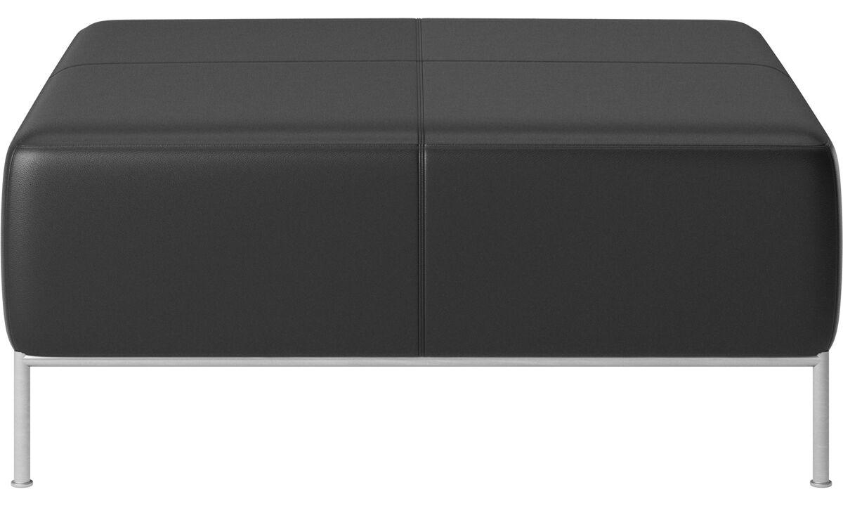 Modular sofas - Miami footstool - Black - Leather
