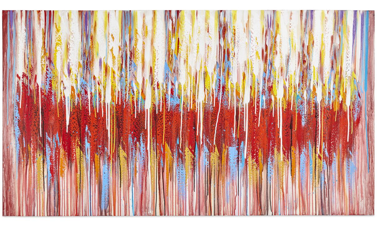 Paintings - Rain Rhapsody original painting, variation is natural - Red - Wood