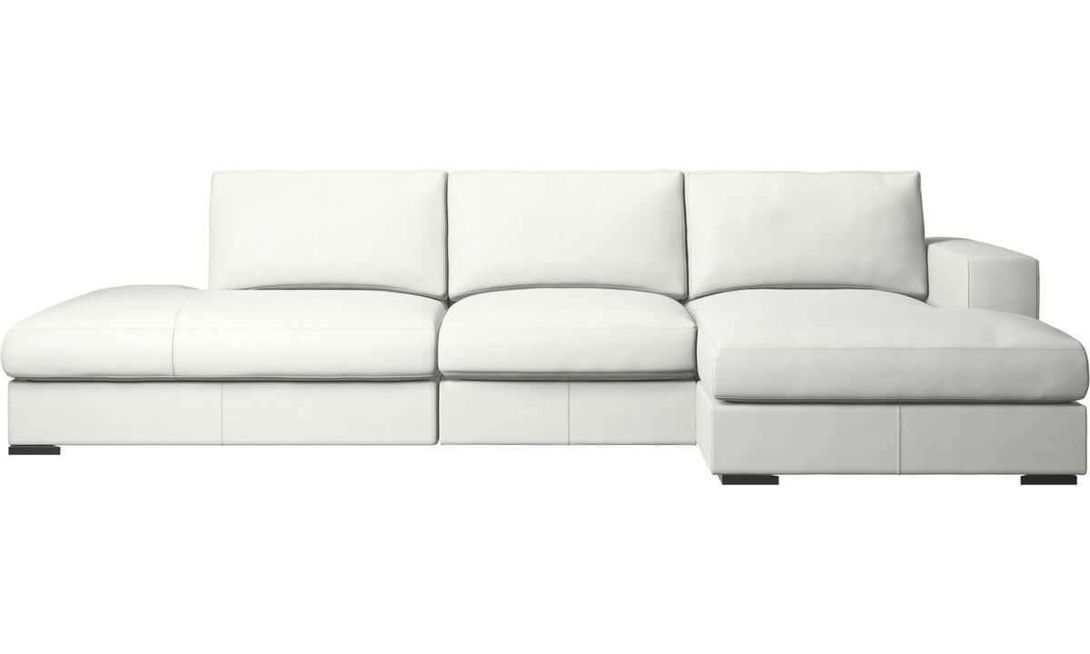 Sofas with open end - Cenova sofa with lounging and resting unit - White - Leather