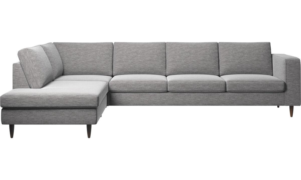 Sofás con lado abierto - sofá esquinero Indivi con módulo de descanso - En gris - Tela