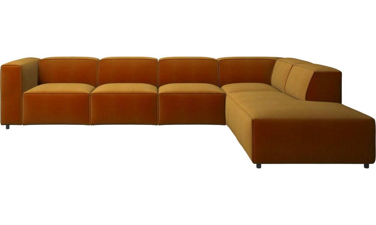 Modular sofas - Carmo corner sofa with lounging unit - Yellow - Fabric