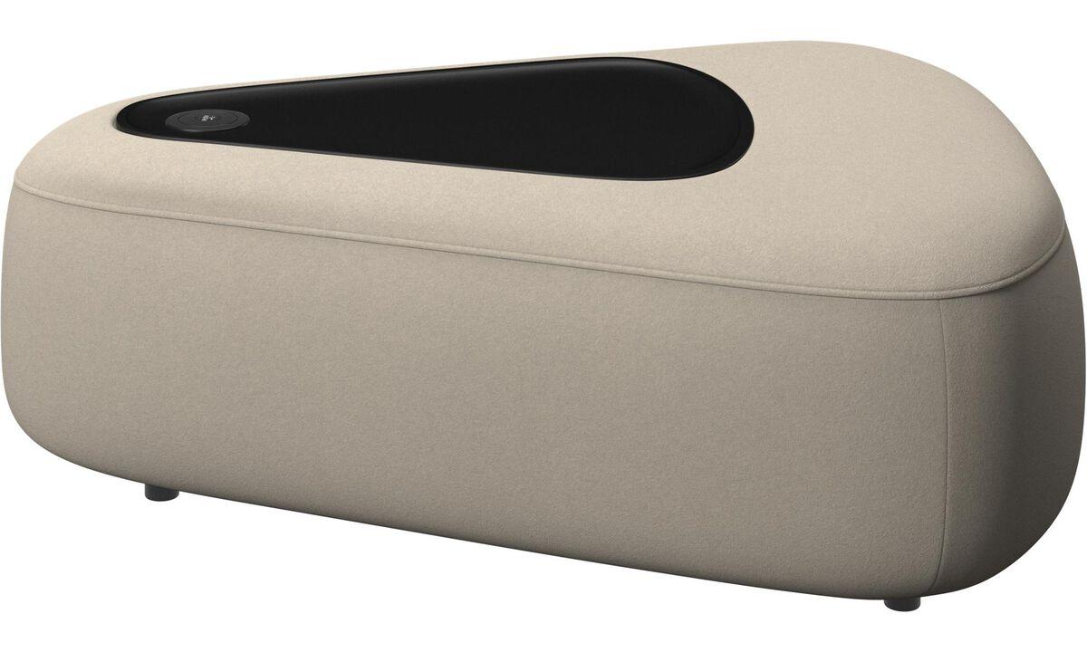 Modulære sofaer - Ottawa trekantet puf med bakke og USB oplader - Beige - Stof