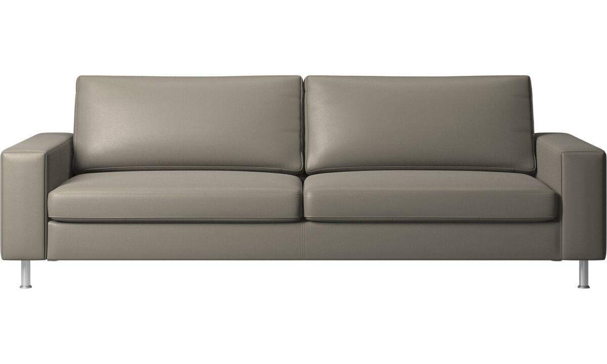 Sofás de 3 plazas - sofá Indivi - En gris - Piel